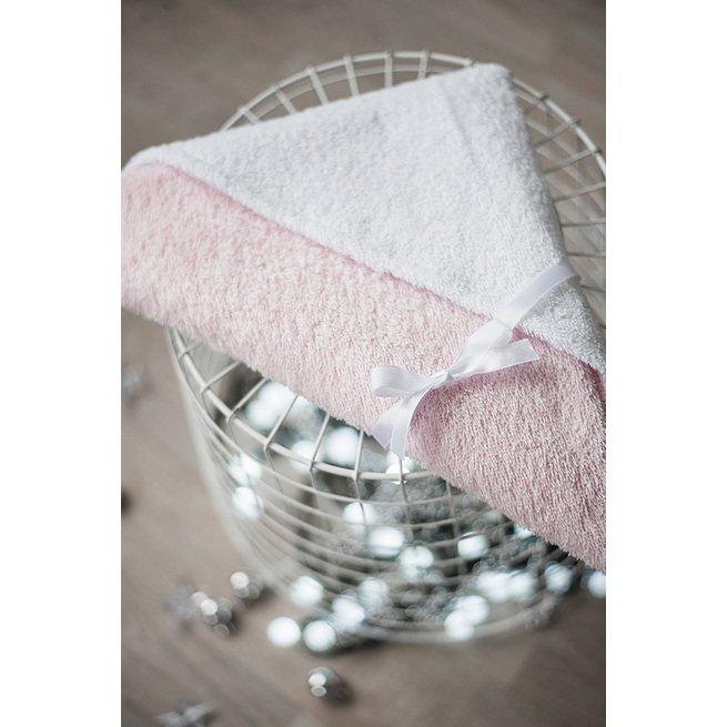 Rausvas rankšluostis su gobtuvu