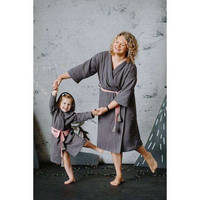 Mamos ir vaiko chalatėlių rinkinys PILKAS