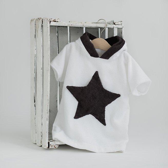 Baltas paplūdimio chalatas su žvaigždės kišene