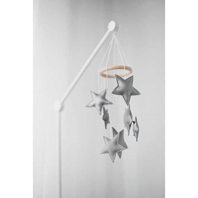 Sidabrinė odinė smulkių žvaigždelių miego karuselė