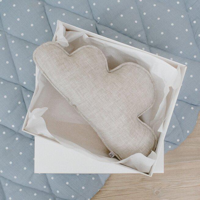 Lininis dekoratyvinės pagalvėlės ir miego karuselės rinkinys NATŪRALUS