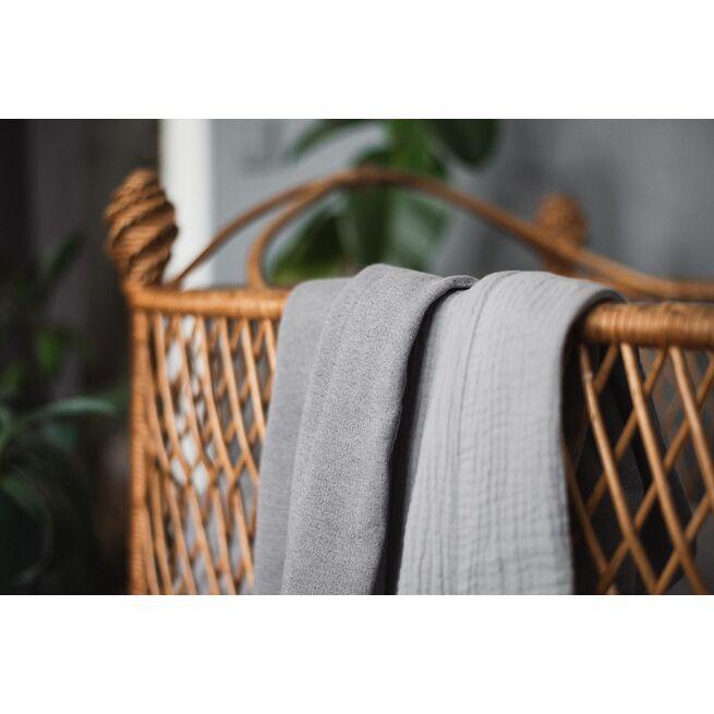 Pilkos spalvos pašiltintas dvipusis pledukas