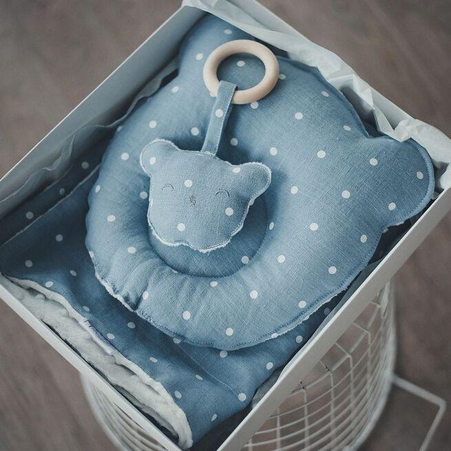 Melsvas pleduko, pagalvėlės ir kramtuko RINKINYS