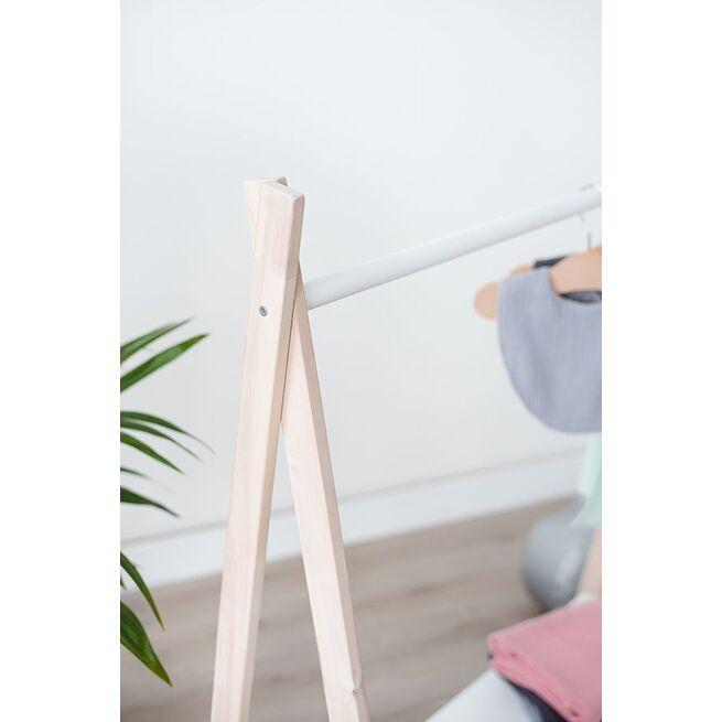 Medinė vaikiška kabykla su BALTA lentyna