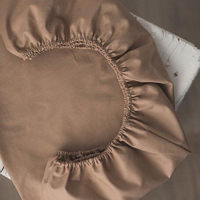 Vienspalvė kapučino spalvos paklodė su guma