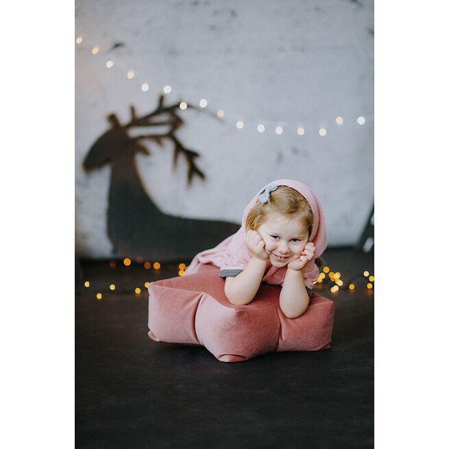 Veliūrinis sėdmaišis - pufas RAUSVA žvaigždelė