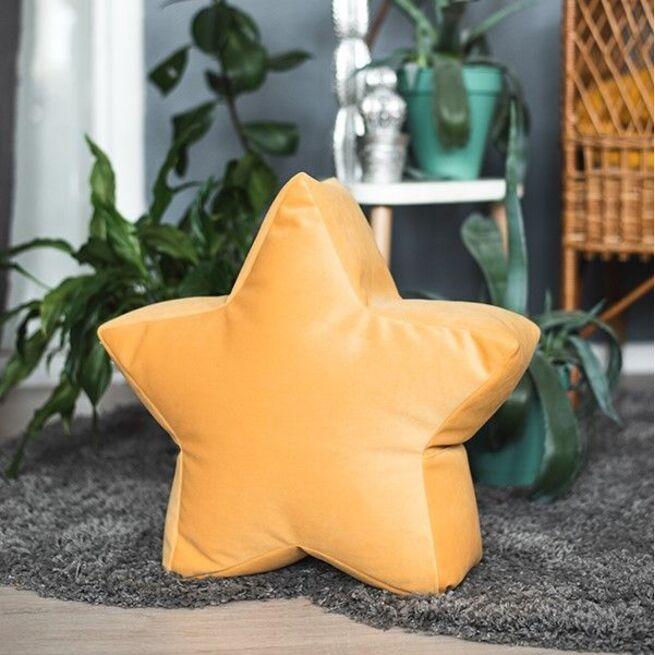 Veliūrinis sėdmaišis - pufas GARSTYČIŲ spalvos žvaigždelė