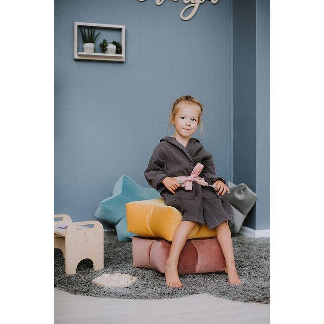 Veliūrinis sėdmaišis - pufas PILKA žvaigždelė